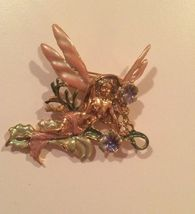 "KIRK'S FOLLY Vintage ""Morning Glory"" Enamel Fairy Brooch Pin - 3 1/4 inches - $45.00"