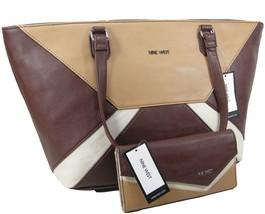 Nine West Logo Purse Hand Bag & Coordinating Wallet 2 Piece Set Brown Be... - $118.79