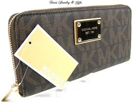 Michael Kors MK Logo Wallet Purse Hand Bag Genuine Brown Leather Jet Set... - $158.38