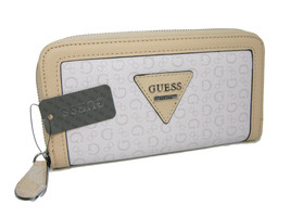 Guess G Logo Large Zip Around Wallet Purse Hand Bag Cement Beige Polishe... - $49.48