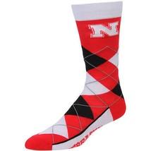 NCAA Nebraska Cornhuskers Argyle Unisex Crew Cut Socks - One Size Fits Most - $10.95