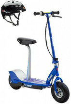 Razor E300S Seated Electric Scooter (Blue) and Youth Helmet (Black) - $371.95