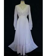 Vtg 70s Gunne Sax Maxi Dress 11 Lavender Dimity Ribbon Lace Ruffles Vict... - $199.99