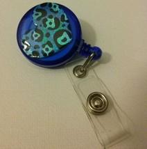 Leopard Print Heart badge reel key card ID holder lanyard retractable sc... - $5.95