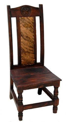 Rustic Dark Cowhide Chair  Solid Wood Western Cabin Lodge Dinning Room