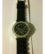 Black silicone water resistant watch with rhinestones  - $18.50