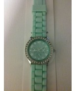 Mint silicone water resistant watch with rhinestones  - $18.50