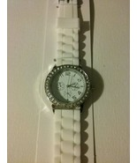 White silicone water resistant watch with rhinestones  - $18.50
