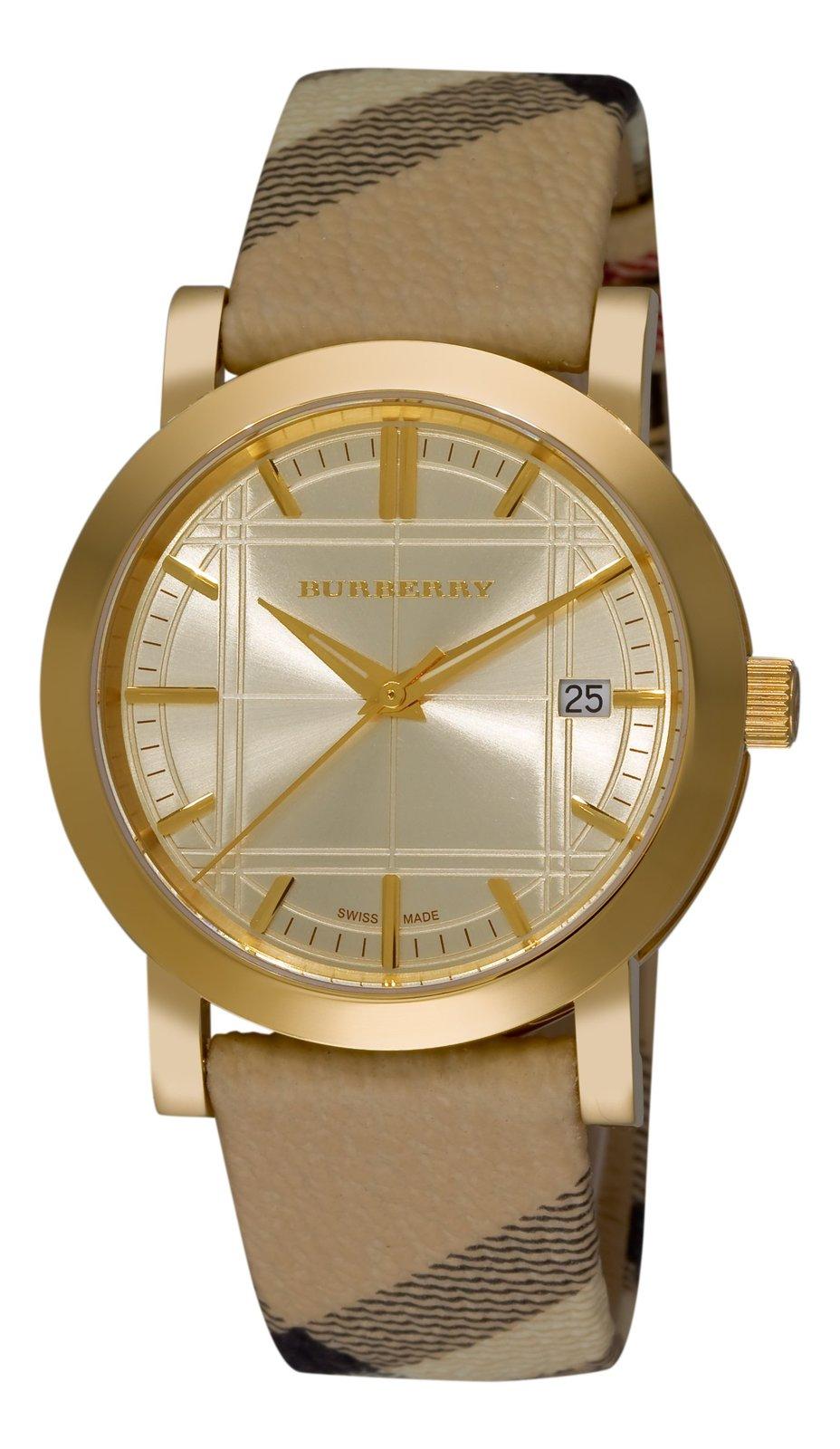 Burberry Women's BU1398 Check Engraved Gold Dial Check Strap Watch