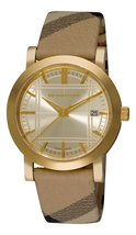 Burberry Women's BU1398 Check Engraved Gold Dial Check Strap Watch - $313.24