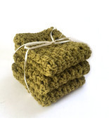Handmade Cotton Dishcloths Crochet Kitchen Dish Cloths Olive Green - £12.35 GBP