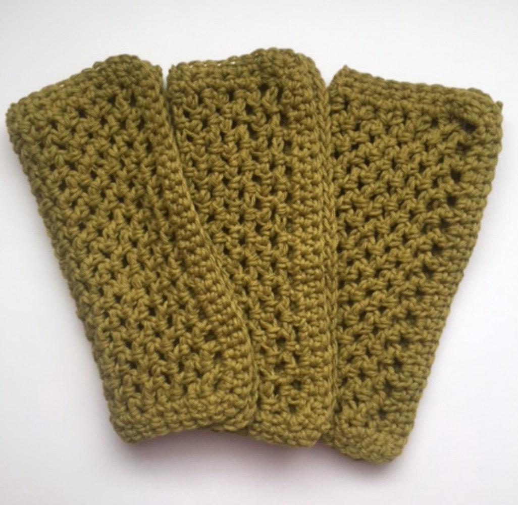 Handmade Cotton Dishcloths Crochet Kitchen Dish Cloths Olive Green