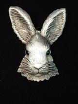 "RABBIT Bunny Head Pewter Pin - JJ Jonette Jewelry - 2 1/8 "" - New withou... - $25.00"