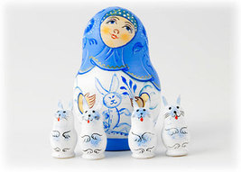 "Bunny Surprise Nesting Doll - 3"" w/ 4 Bunnies Inside - $40.00"