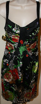 David Meister Black Silky Stretch Floral Sleeveless Dress Sz 4 Red Ruched Lined - $89.99