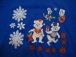 "Vintage Polar Bear Elves ""From Santa"" Christmas Holidays Blue Shirt Mens... - $21.25 CAD"