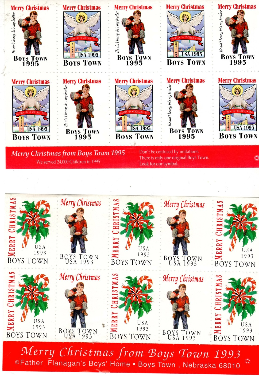 Christmas Seals from Boy's Town (1990's)