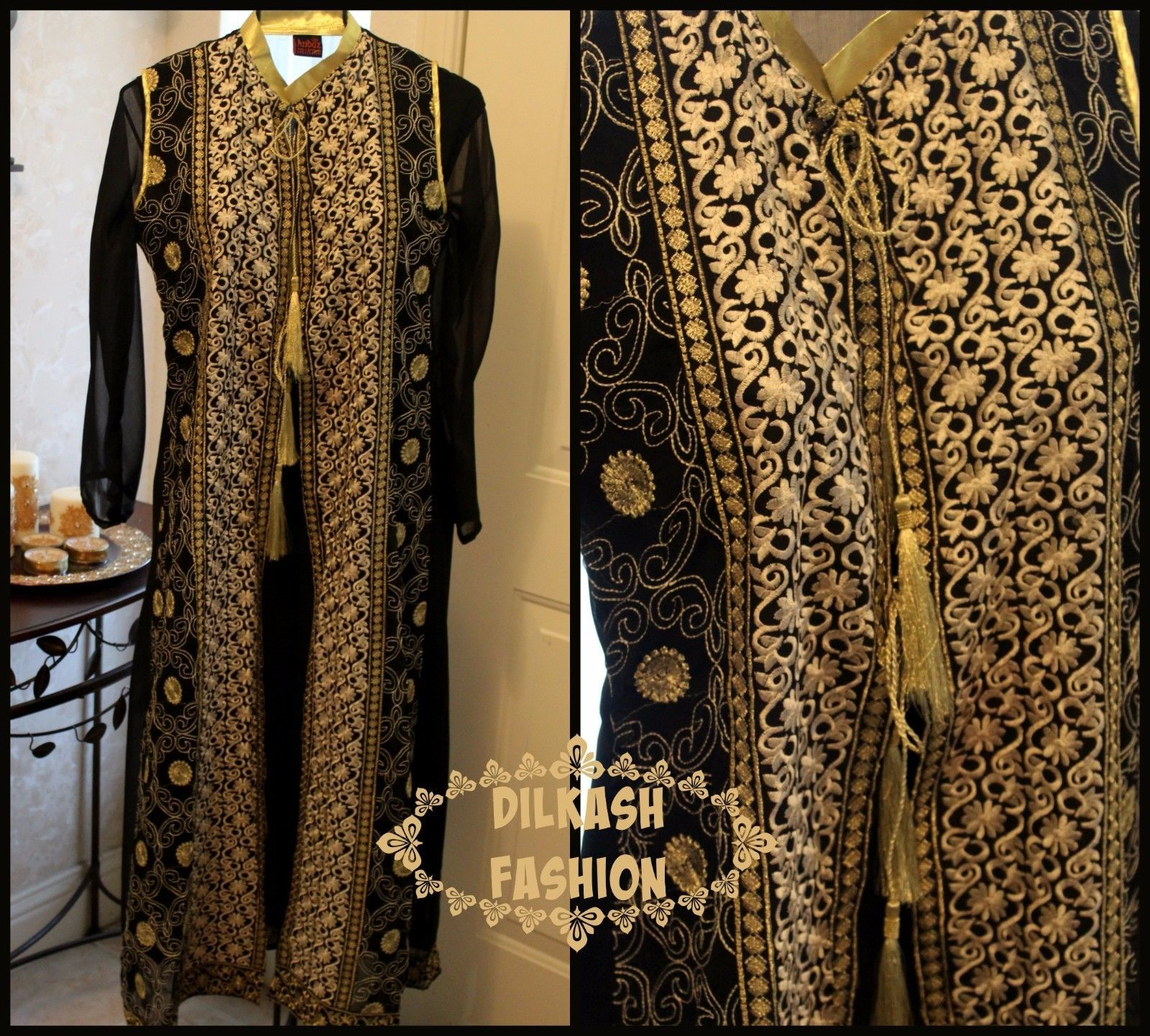 Primary image for Pakistani Black/White Gown Style Crinkle Chiffon Suit w/ Fancy Threadwork, 4pc