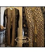 Pakistani Black/White Gown Style Crinkle Chiffon Suit w/ Fancy Threadwor... - $74.25