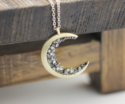 Crescent moon pendant Necklace detailed with Black Diamond Crystals, Lon... - $22.00