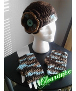 Handmade Crochet Brown Mix Hat & Fingerless Gloves Set - $18.00