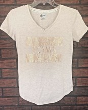 Target for Toms T-Shirt Extra Small Bronze Glitter Gold Go Somewhere New... - $4.95