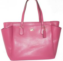 COACH Crossgrain Leather Baby Diaper Bag Multifunction Tote in Light Gol... - $441.00