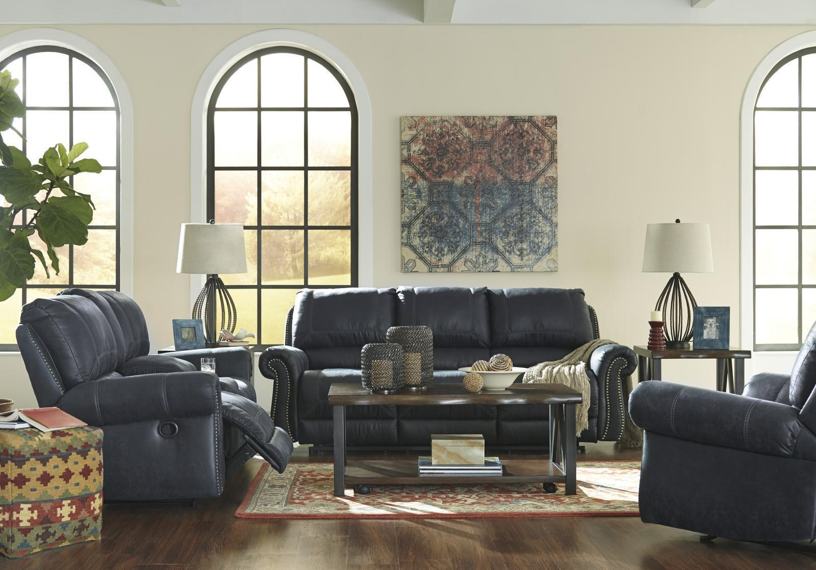 Ashley Milhaven 3 Piece Living Room Set in Navy with Power Contemporary Style