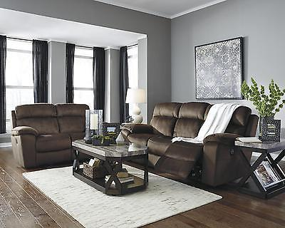 Ashley Uhland 2 Piece Living Room Set in Chocolate with Power Contemporary Style
