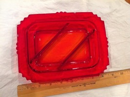 Great Bright Ruby Red Clear Divided Glass Tray Snack Serving Dish Plate,... - $36.10