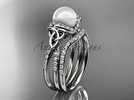 Celtic pearl womens wedding ring sets 14kt white gold diamond engagement ring CT - $2,395.00