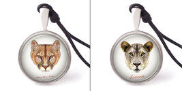 Vietguild's Portraits of a Lion Necklace Pendants Pewter Silver Jewelry - $9.99