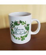 """Mug """"Bloom Where You Are Planted"""", ceramic white with leaves floral desi... - $9.99"""