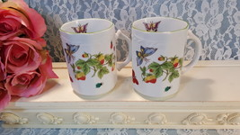 Vintage Strawberry Festival Arnart China Mug Set of Two, Butterflies, La... - $24.99