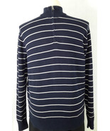 J. Crew XL navy blue white stripe half zip mock turtleneck long sl sweat... - $33.46