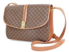 Authentic CELINE Brown Macadam Canvas and Leather Shoulder Bag Purse #27262 - $249.00