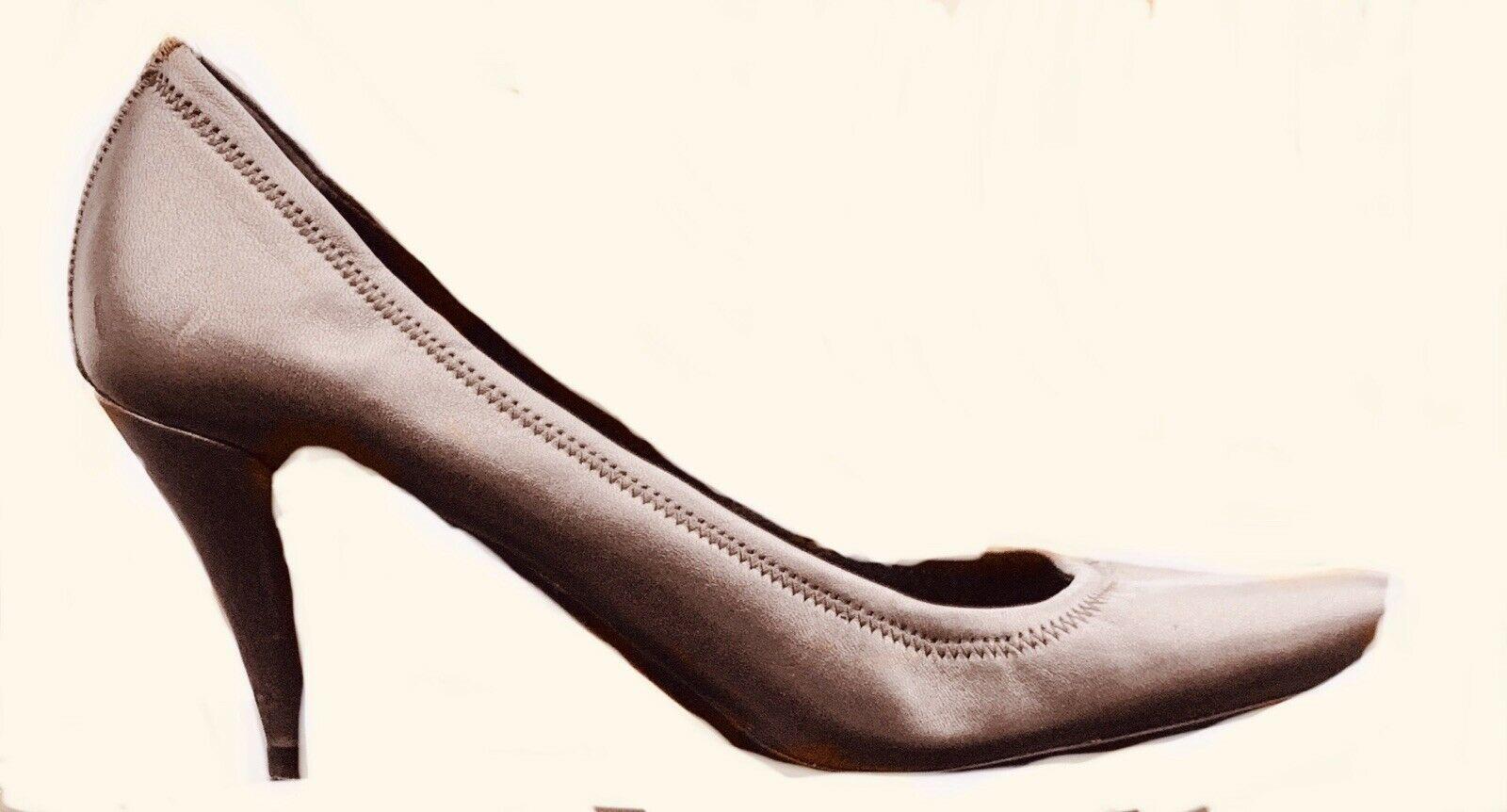 Women's PRADA Dark Grey Calf Leather Thin Heel Pump Shoes Size 391/2