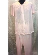 Vanity Fair Womens 2 Pc Sleepwear Pajamas Lingerie 40 8 Pink Usa Vtg Top... - $31.76