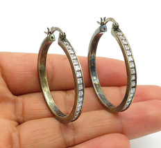 925 Sterling Silver - Vintage Shiny Cubic Zirconia Round Hoop Earrings - E7081 - $32.16