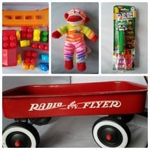 Radio Flyer Red Wagon Toy + FREE Building Blocks Pez Dispenser Sock Monk... - $46.49