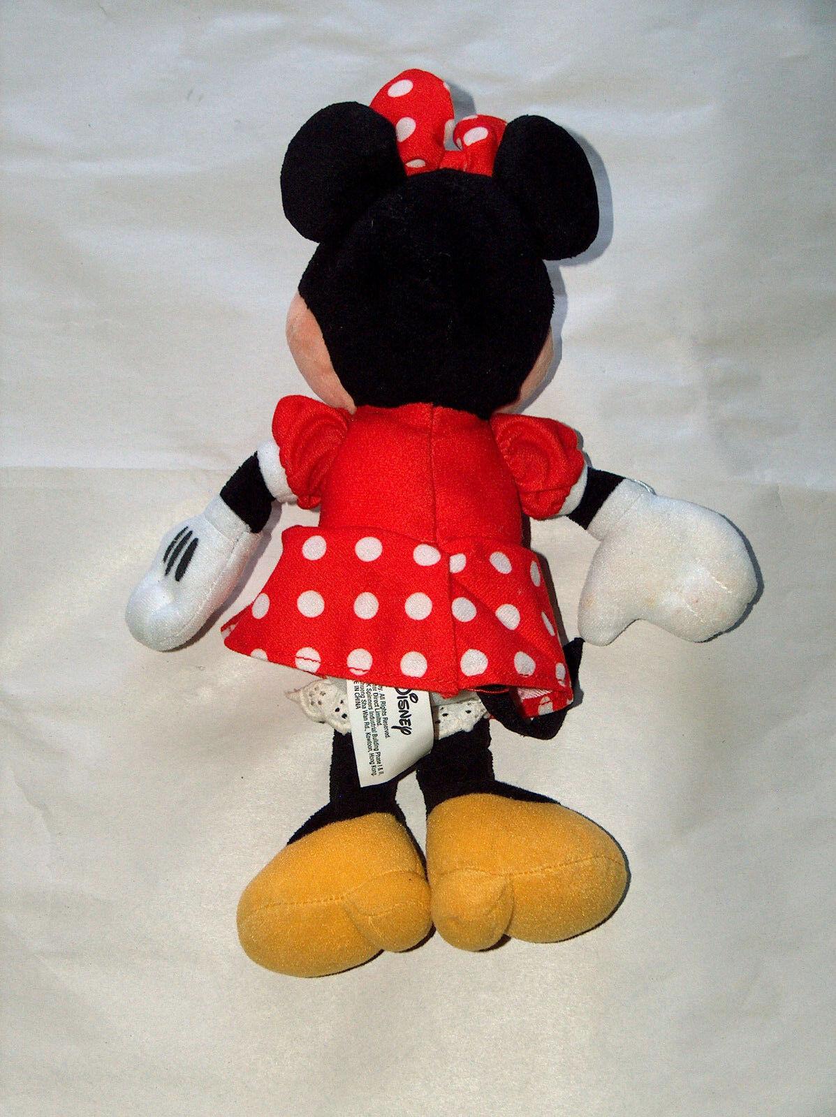 """Disney Minnie Mouse 11"""" con Relleno Peluche Muñeca Lunares Falda, Pajarita"""