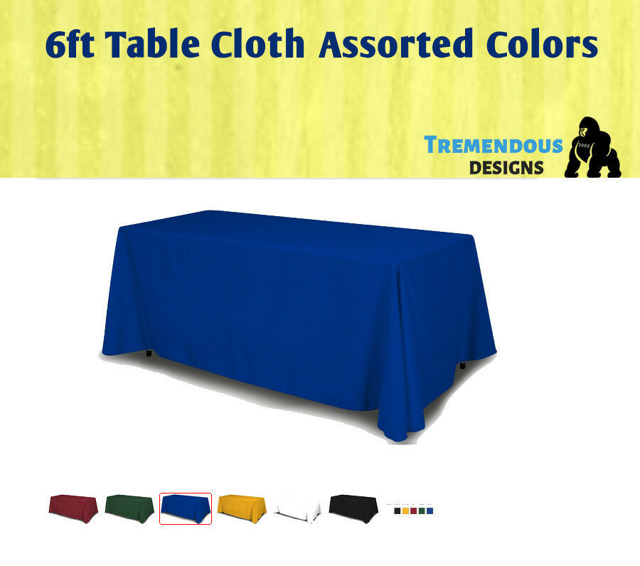 6fTable Cloth Full solid Color 4 Sided Fabric 100% Polyester Trade shows & Party