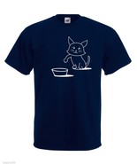 Mens T-Shirt Cute Hungry Cat Design, Sad Kitty Shirts, Asking to Eat Shirt - $24.74
