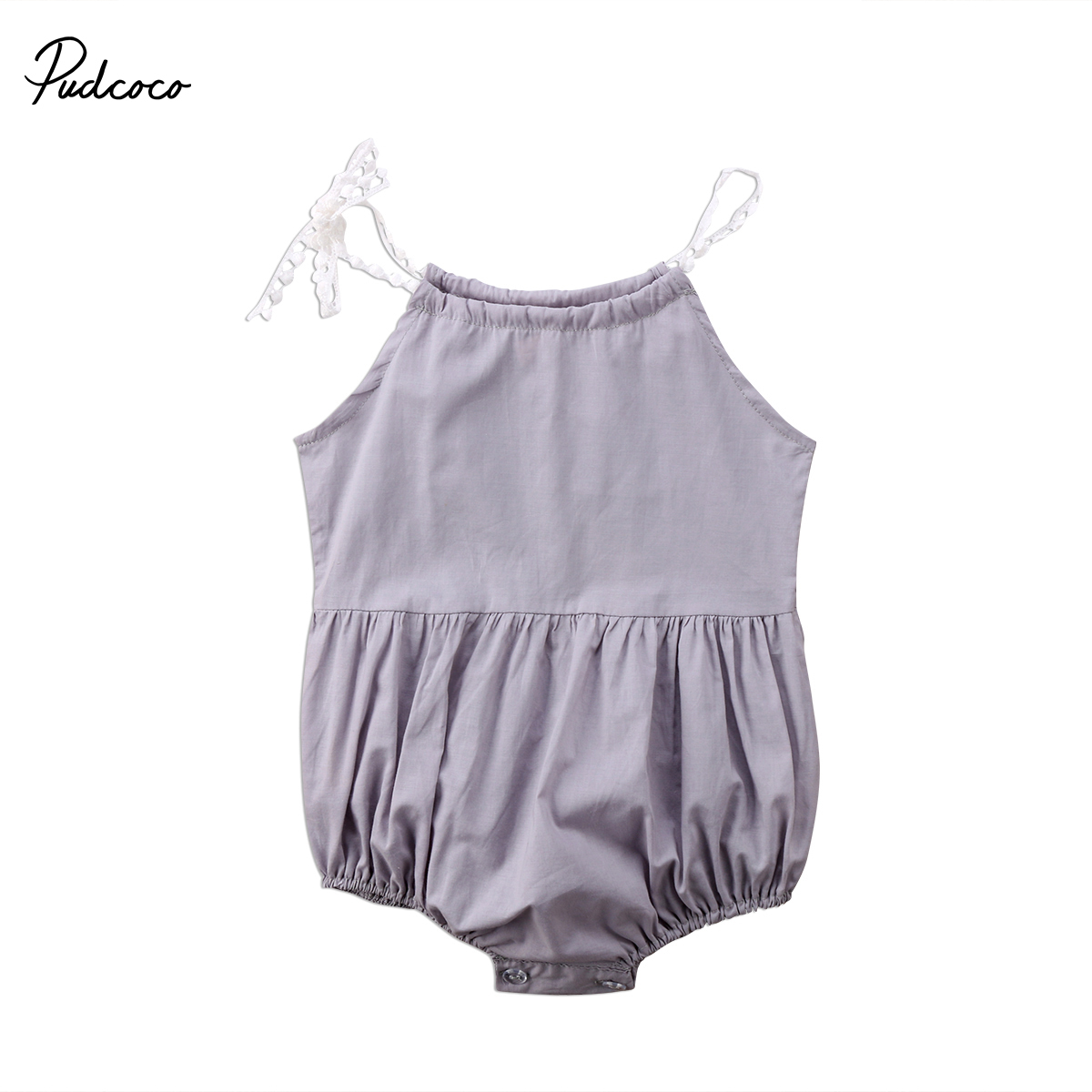 Primary image for Pudcoco Cute Newborn Summer Romper Kids Baby Girl Strap Romper Solid Sleeveless