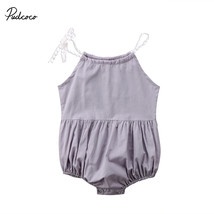 Pudcoco Cute Newborn Summer Romper Kids Baby Girl Strap Romper Solid Sle... - $10.99