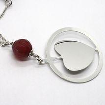 Halskette Silber 925, Karneol Facettiert, Herz Gekippt Anhänger image 3