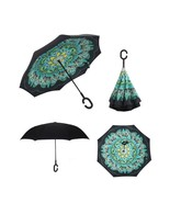 Windproof Double Layer Upside Down Inverted Umbrella - Peacock - $23.98