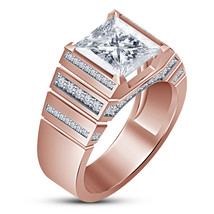 Beautiful Men's Band Ring Princess Cut Diamond 14k Rose Gold Plated 925 ... - $95.88