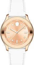 BRAND NEW MOVADO BOLD 3600411 ROSE GOLD DIAL WHITE SILICONE BAND WOMEN'S... - $346.49