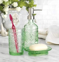 Classic Glass Bathroom Set of 3 Toothbrush & Soap Holder Soap Pump Dispe... - $44.98